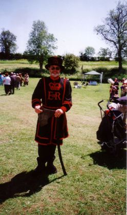 Colin Williams dressed as a beefeater