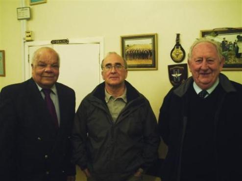 (left to right) Parish Council Chairman Norman Bayne, District Councillor Colin Mills and County Councillor Ian West following the presentation Colin Mills