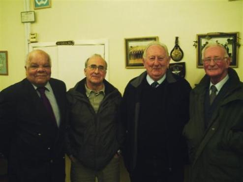 (left to right) Parish Council Chairman Norman Bayne, District Councillor Colin Mills, County Councillor Ian West and former Parish Council Chairman Frank Druce following the presentation Colin Mills
