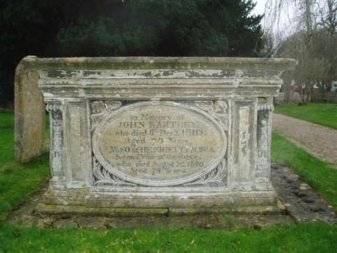 John Bartley tomb located close to the church porch is  characteristic of the chest tombs of the late 18th and early 19th centuries.  John Bartley died in 1810