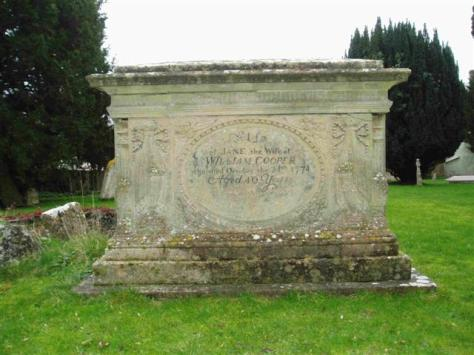 William Cooper tomb similar in style and place to the John Bartley tomb; awaits cleaning to show lettering