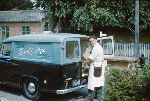 Cyril delivering the meat, 1962