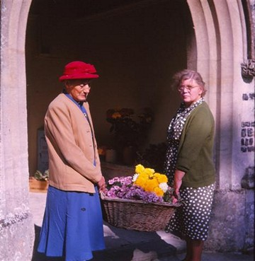 Harvest Festival Flowers Mrs R Kyte (Auntie Rose) & Mrs Johnson, 1964