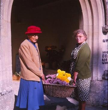 Harvest Festival Flowers Mrs R Kyte (Auntie Rose) & Mrs Johnson, 1964