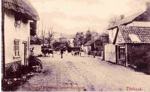 Postcard published by H Coleman Refreshments. Len's Father with Primrose Cottage on the left, from a photograph taken by Fine Arts Studios, Bradford-on-Avon. © H Coleman Refreshments; Fine Arts Studios, Bradford-on-Avon