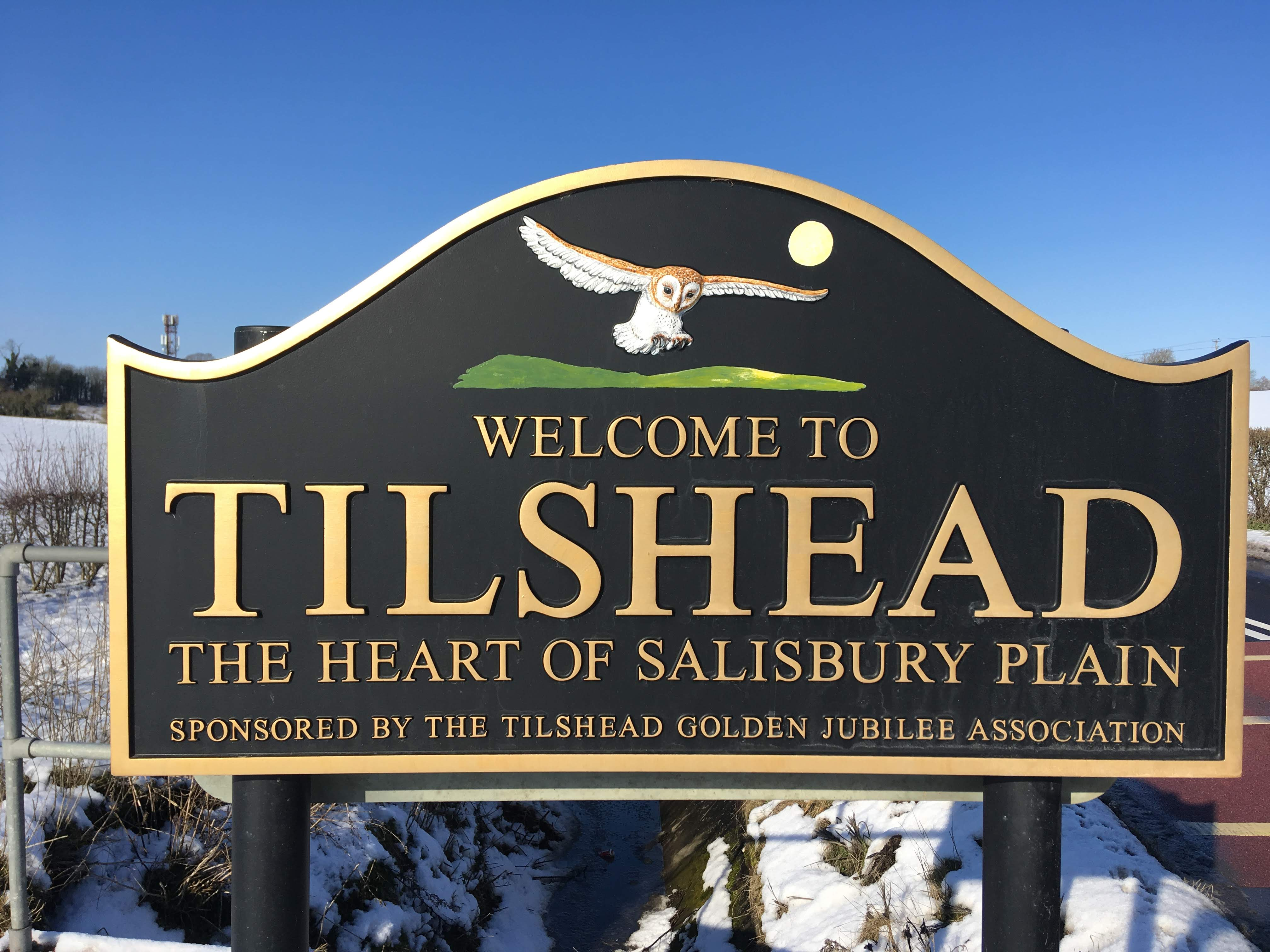 Sign on entering Tilshead reads 'Welcome to Tilshead, the heart of Salisbury Plain, sponsored by the Tilshead Golden Jubilee Association'